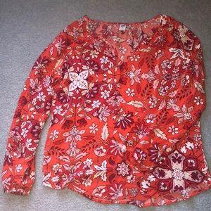 Old Navy Orange Flowery Shirt
